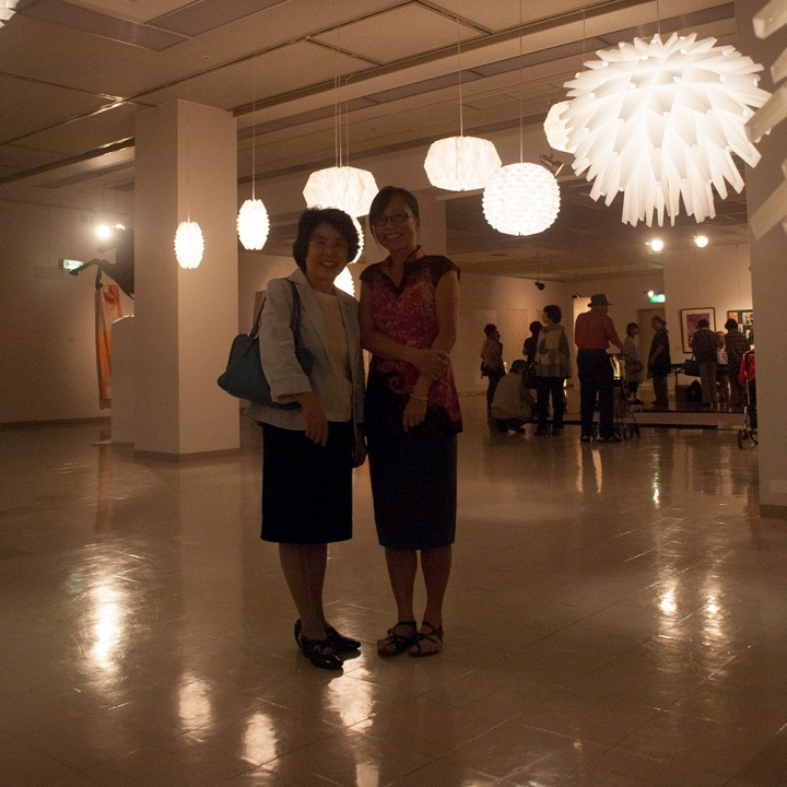 Photograph with Akiko Toyoda at the exhibition.