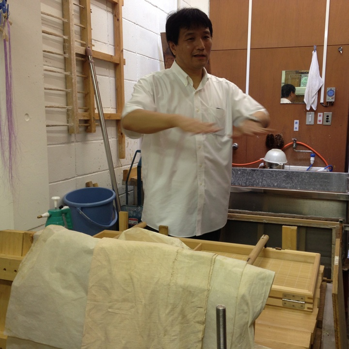 Professor Shibazaki at his paper making studio