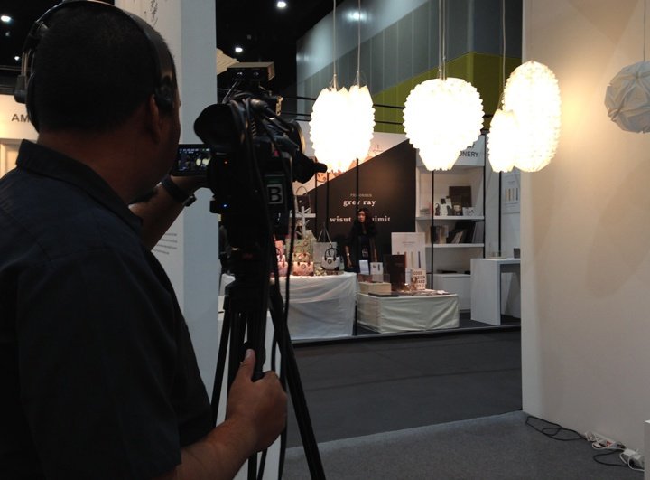 Folded Light Art being photographed by Elle Deco magazine