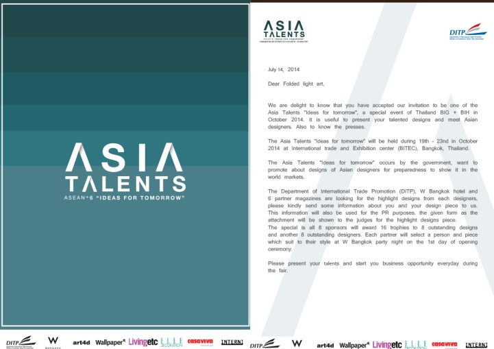 Invitation letter to Asia Talent: Ideas for Tomorrow exhibition