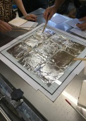 Transferring foil to the silk prints