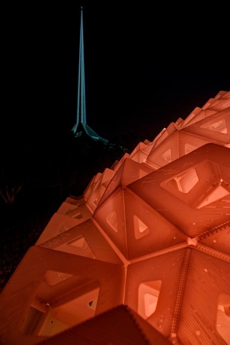 Synergia at night. Photography by Tony Vasquez.